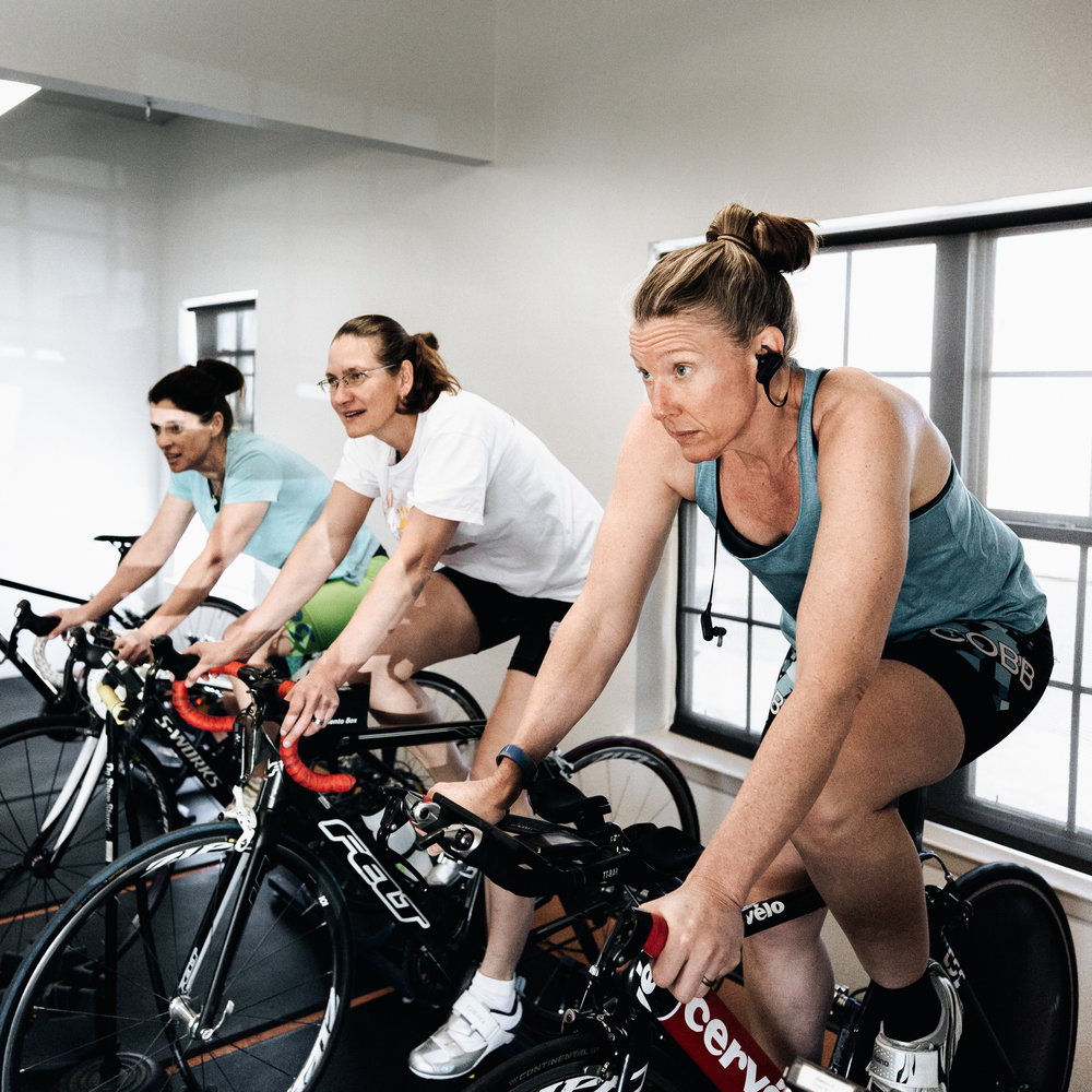 Don't Worry about the bad weather - Our indoor cycling center is the spot to ride and train when you don't want to be outside. Bring your bike in and get stronger by riding on our Computrainers a few times a week. Ride with a group or get in some good solo cardio time.
