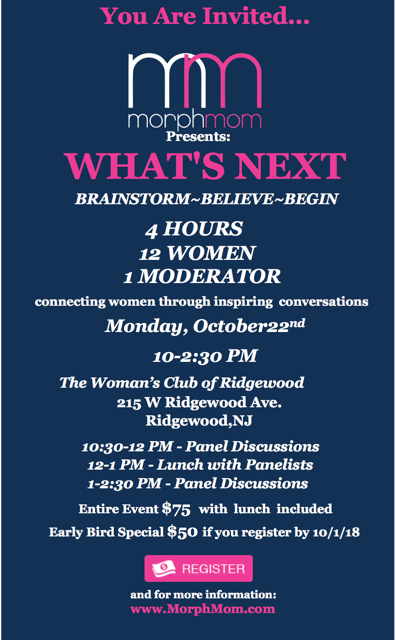 "BRAINSTORM~BELIEVE~BEGIN     ""WHAT'S NEXT"" CONFERENCE    4 HOURS    12 WOMEN    1 MODERATOR    BRAINSTORM ~BELIEVE ~ BEGIN    COMING TO RIDGEWOOD,NJ     OCTOBER 22nd 2018!        CLICK HERE TO REGISTER"