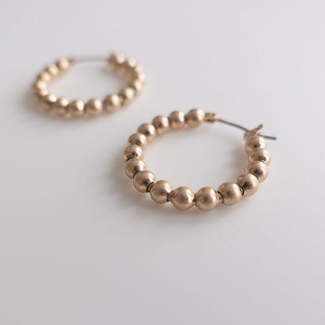 🏷Metal breading earring 簡約珠串圓型耳環