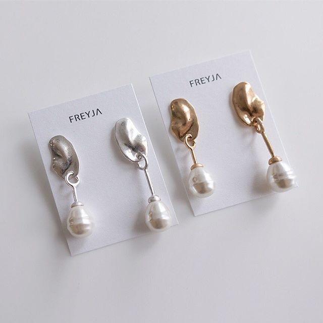🏷Metal slice with pearl 不規則片裝壓紋珍珠耳環 ‼️現貨中‼️#fr0043