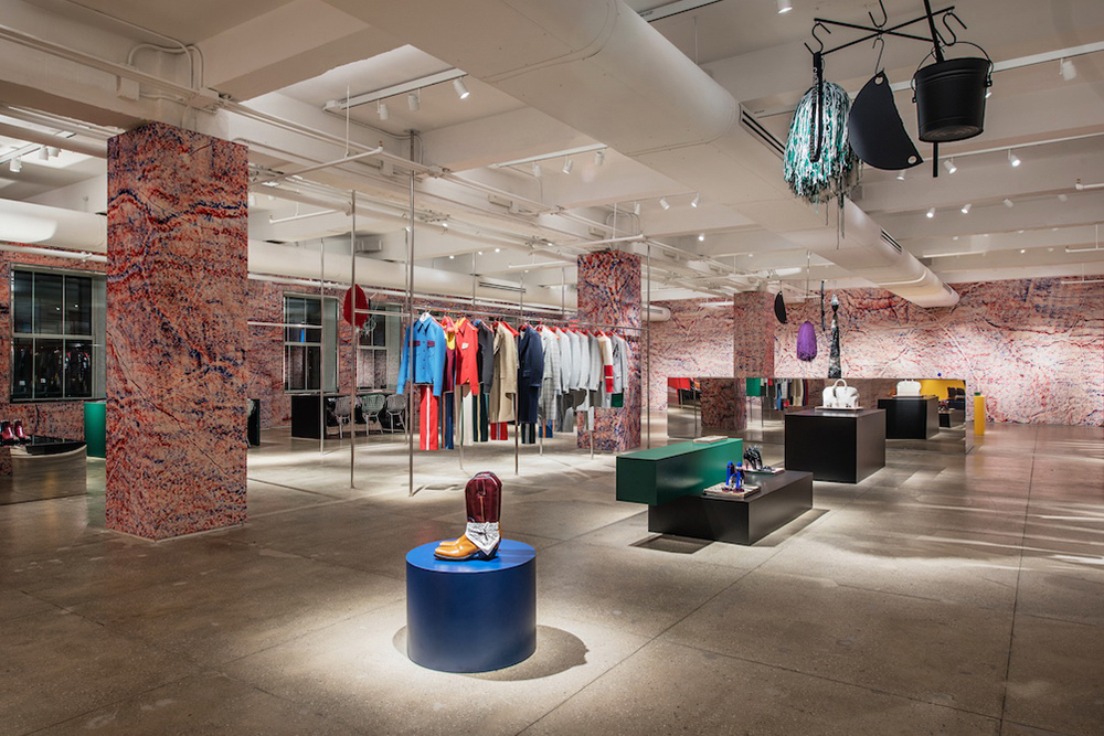Views from the Calvin Klein showroom as created by artist Sterling Ruby.Photo courtesy of Calvin Klein