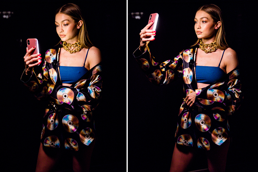The #HMOSCHINO collaboration was revealed at Jeremy Scott's and Moschino's annual desert party in Palm Springs. To announce the upcoming collection, Gigi Hadid broadcasted live on Instagram. Here she is minutes before taking the stage with Jeremy Scott.