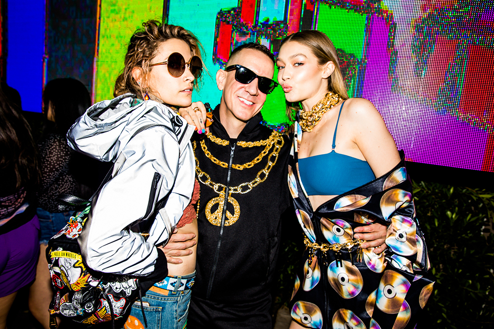 After the reveal, Gigi Hadid and Jeremy Scott hung out on stage, dancing in front of Moschino's invited guests.