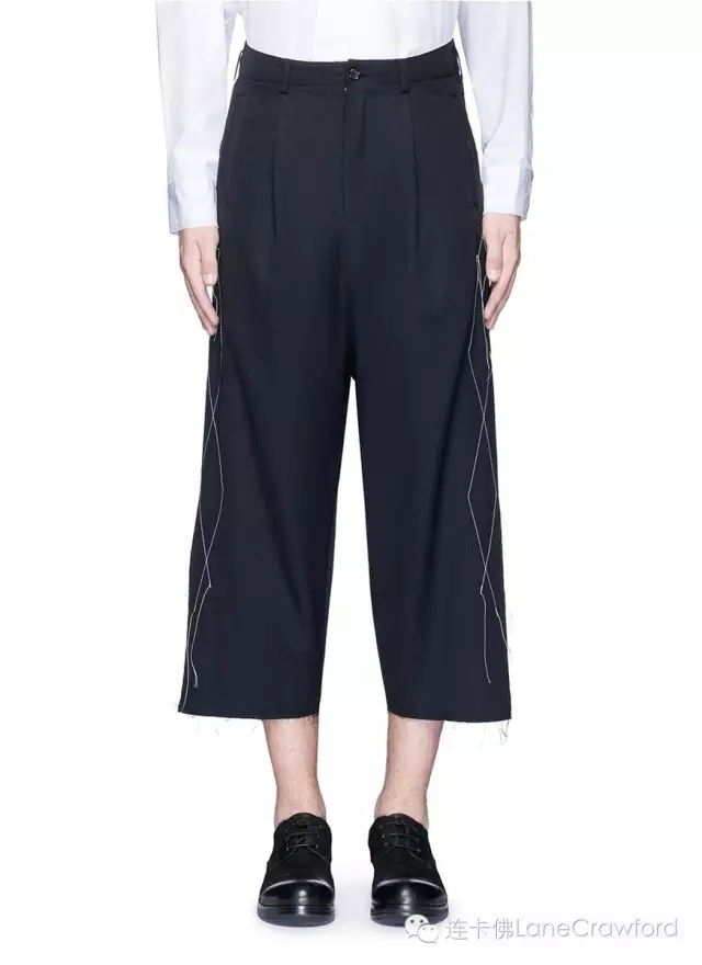 SULVAM 车缝线不修边羊毛阔腿八分裤