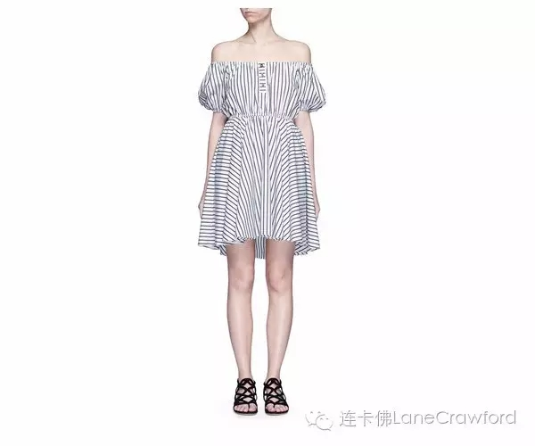 CAROLINE CONSTAS BARDOT条纹露肩连衣裙