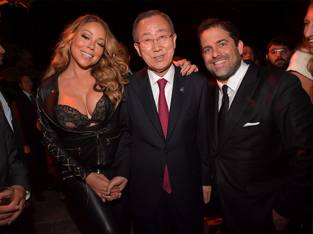 Mariah Carey, Ban Ki-Moon And Brett Ratner ©Lester Cohen, Getty Images