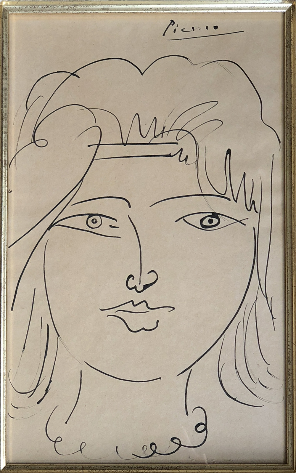 PABLO PICASSO  Tête de Jeune Femme (Head of a Young Woman) (c.1950)  27 x 16.8 cm / 10.6 x 6.6 inch  Original drawing in ballpoint pen with ink on paper.