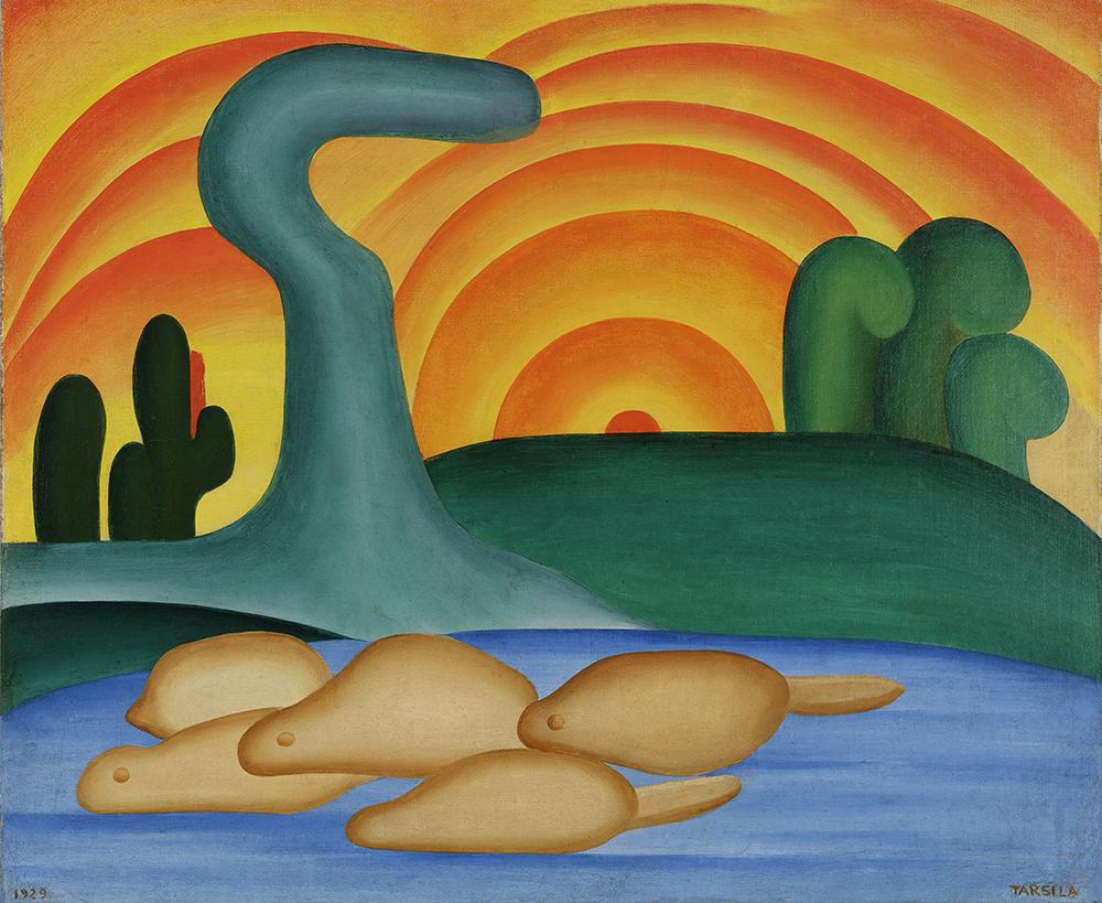 Tarsila do Amaral. Setting Sun (Sol poente), 1929. Oil on canvas. 21 1/4 x 25 9/16 in. (54 x 65 cm). Private collection, Rio de Janeiro. © Tarsila do Amaral Licenciamentos.