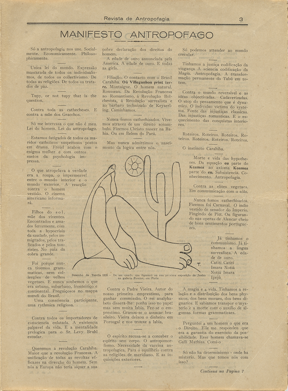 """Oswald de Andrade (Brazilian, 1890–1954) with drawing by Tarsila do Amaral. """"Manifesto antropófago"""" (Manifesto of Anthropophagy), in Revista de Antropofagia 1, no. 1 (May 1928):3. The Museum of Modern Art Library. Gift of Patricia Phelps de Cisneros through the Latin American and Caribbean Fund in honor of Paulo Herkenhoff. Photo by John Wronn."""