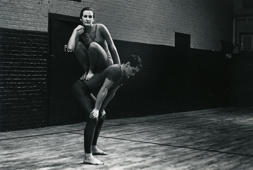 Judson Dance Theater: The Work Is Never Done   Peter Moore. Performance view of Trisha Brown and Steve Paxton in Brown's Trillium, Concert of Dance #4, January 30, 1963. © Barbara Moore/Licensed by VAGA, New York, NY. Courtesy Paula Cooper, New York