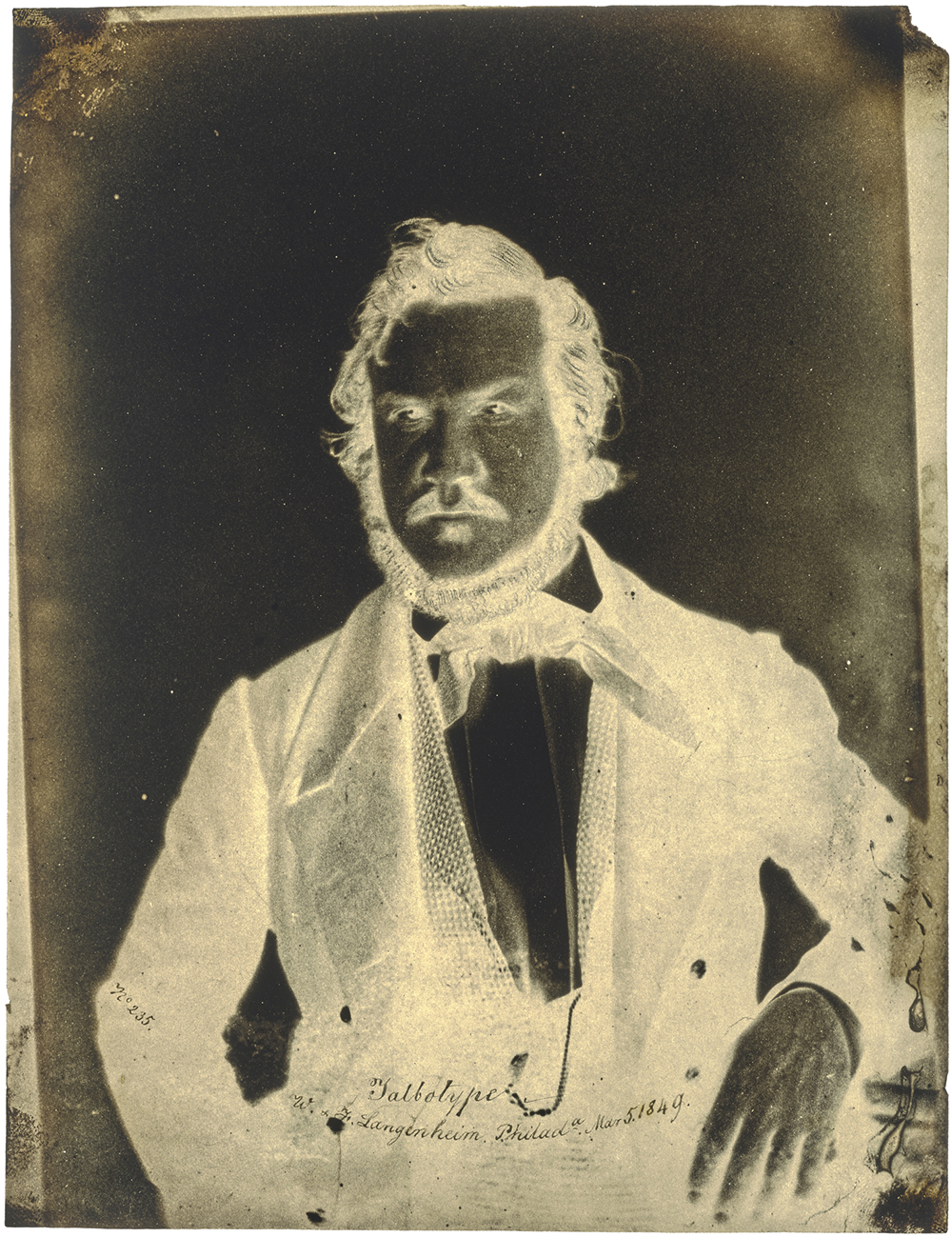 Portrait of Frederick Langenheim, March 1849, Langenheim Brothers [Frederick and William Langenheim] (American, born Germany, 1841/1842 - 1874). Waxed paper negative. Sheet: 19.4 × 15 cm (7 5/8 × 5 7/8 in.). The J. Paul Getty Museum, Los Angeles