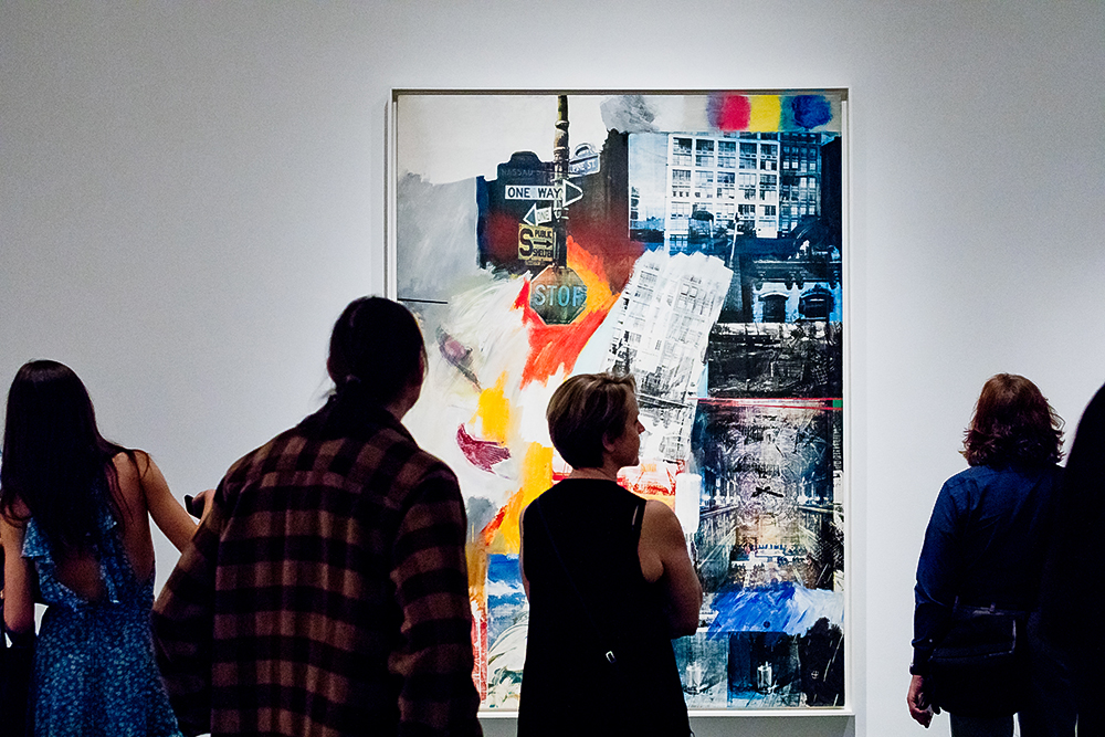 Visitors in the exhibition Robert Rauschenberg: Among Friends, on view at The Museum of Modern Art from May 21, 2017–September 17, 2017. The Museum of Modern Art, New York. Photo by Carly Gaebe © The Museum of Modern Art, New York.