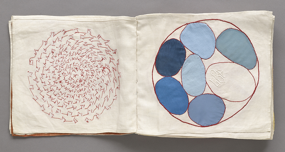Louise Bourgeois (1911–2010). No. 4 of 34 from the fabric illustrated book Ode à l'Oubli. 2002. Page (approx.): 10 3/4 × 12 1/16″ (27.3 × 30.7 cm). The Museum of Modern Art, New York. Gift of the artist. © 2017 The Easton Foundation/Licensed by VAGA, NY.