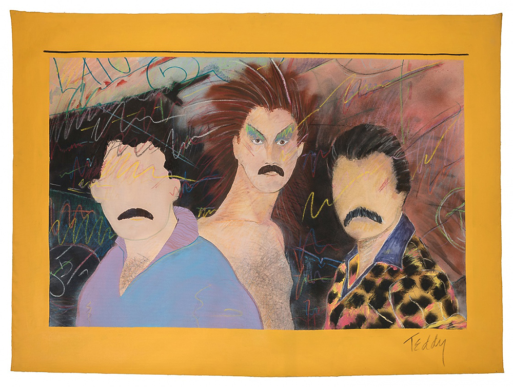 Teddy Sandoval, Las Locas, c. 1980, acrylic and mixed media on unstretched canvas, 39 x 52 in. (99 x 133.4 cm), collection of Paul Polubinskas, photograph by Fredrik Nilsen   AXIS MUNDO: QUEER NETWORKS IN CHICANO L.A.  September 9–December 31, 2017  MOCA Pacific Design Center and the ONE Gallery Curators: David Evans Frantz, Curator at the ONE Archives at the USC Libraries, and C. Ondine Chavoya, Professor of Art and Latina/o Studies at Williams College, in collaboration with The Museum of Contemporary Art, Los Angeles.