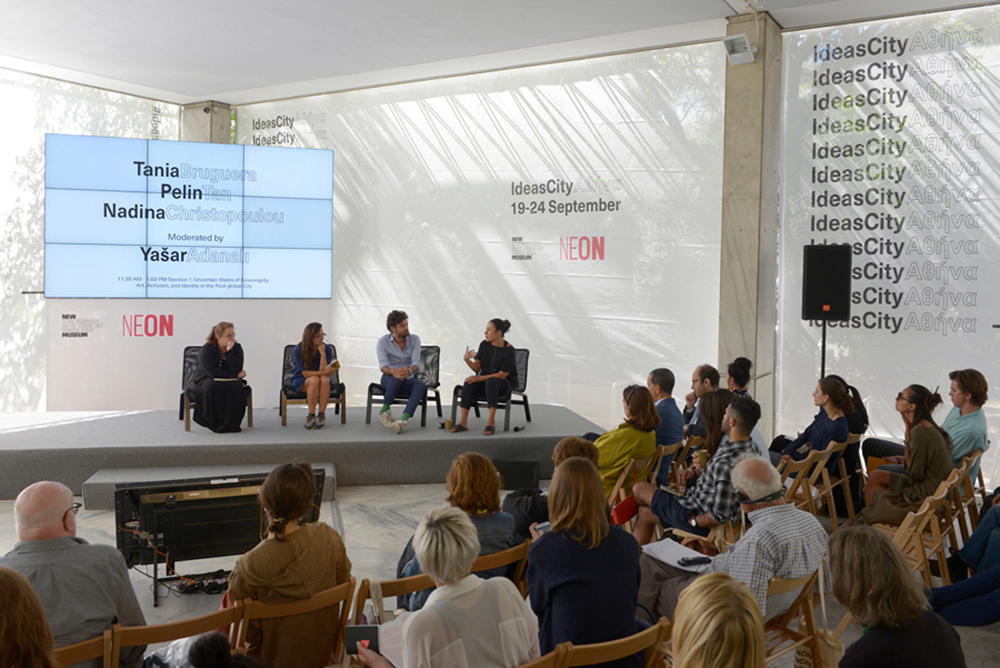 Panel discussion with Tania Bruguera, Pelin Tan, and Nadina Christopoulou, moderated by Yašar Adanalí for the IdeasCity Athens 2016 – Public Conference. Courtesy: ΝΕΟΝ + New Museum, New York; photograph: © Panos Kokkinias
