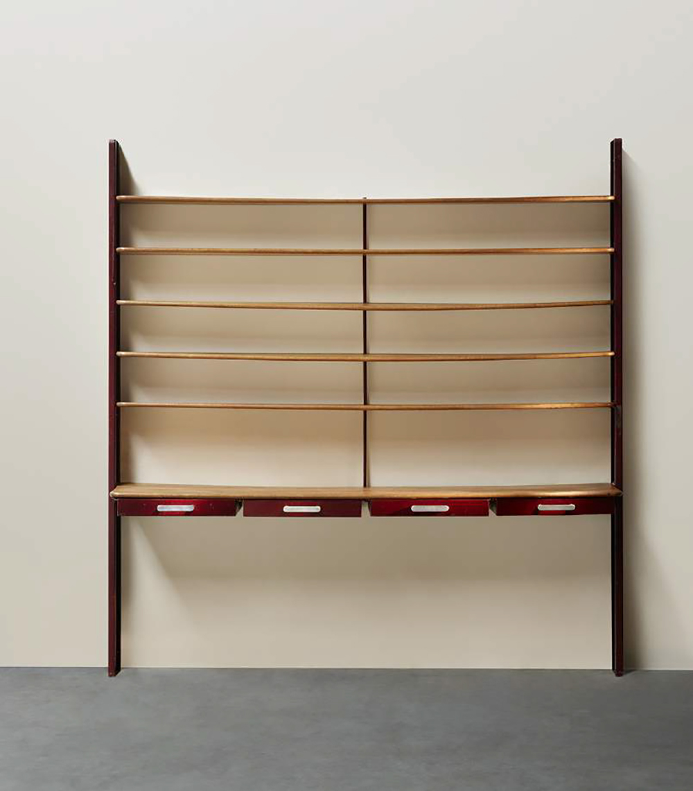 Jean Prouvé (1901-1984), Console-bookcase, Ca. 1930 Red lacquered steel structure and drawers, cast aluminium handles, oak shelves / H. 102 x W. 98 x D. 19.7 in. © Marie Clérin / Laffanour Galerie Downtown, Paris