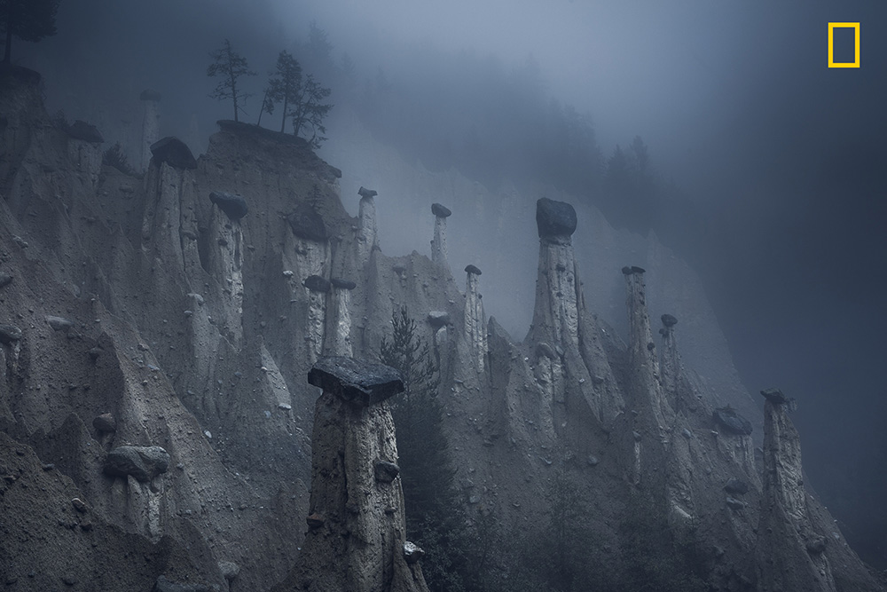 'Mars', These natural sand towers, capped with large stones, are known as the Earth Pyramids of Platten. Picture: Marco GrassiSource:National Geographic