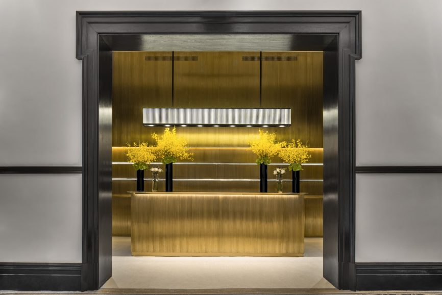 The blingy entrance to the Bvlgari Hotel