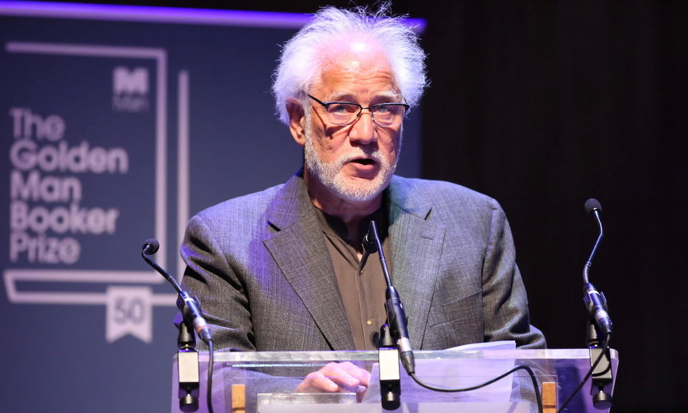 Michael Ondaatje speaks after being named the winner of the Golden Man Booker prize. Photograph: Isabel Infantes/PA