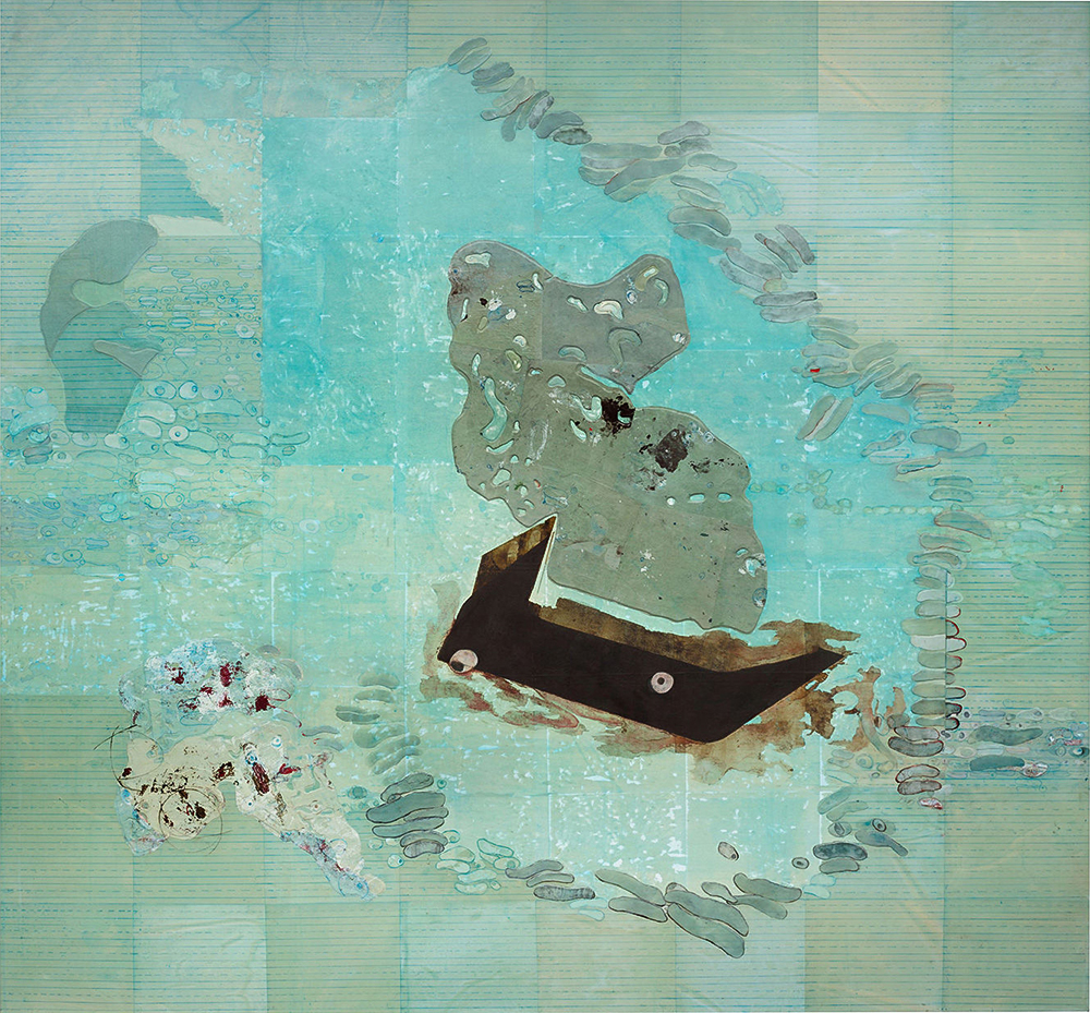 Whale Fall, 2017  Ellen Gallagher  Oil, acrylic, ink and paper on canvas 188 x 202 cm / 74 x 79 1/2 in  © Ellen Gallagher Courtesy the artist and Hauser & Wirth