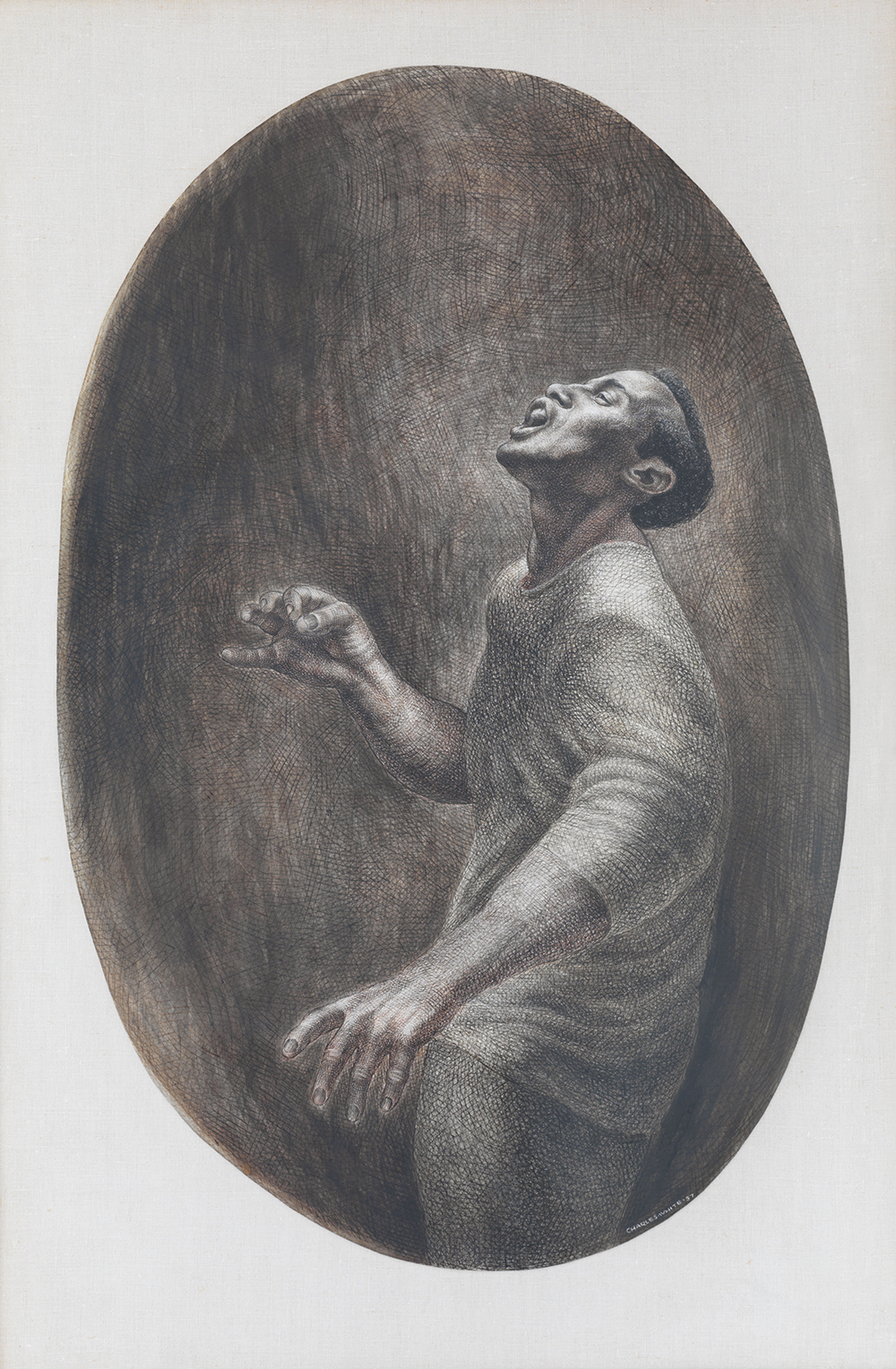 Charles White. Folksinger. 1957. Ink on board. 52 × 34″ (132.1 × 86.4 cm) Collection Pamela and Harry Belafonte © 1957 The Charles White Archives. Photo Credit: Christopher Burke Studios