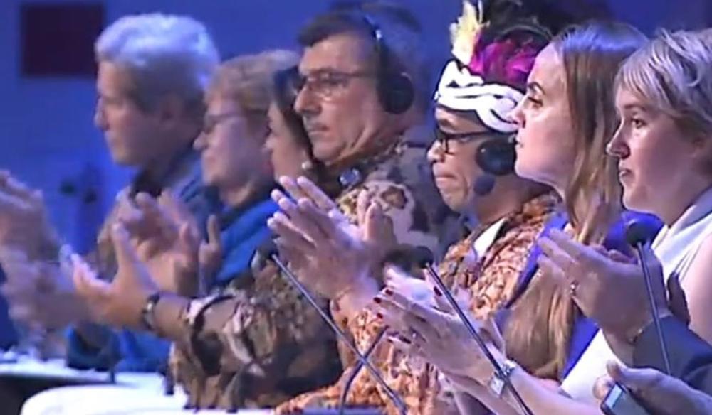 Our Ocean 2018. John Kerry, Dr. Jane Lubchenco, H.E. Philippe Germain (President of New Caledonia), H.E. Isabel De Saint Malo de Alvarado (Vice President of the Republic of Panama), Abraham Goram, Dona Bertarelli, Dr. Fanny Douvere. / Our Ocean 2018