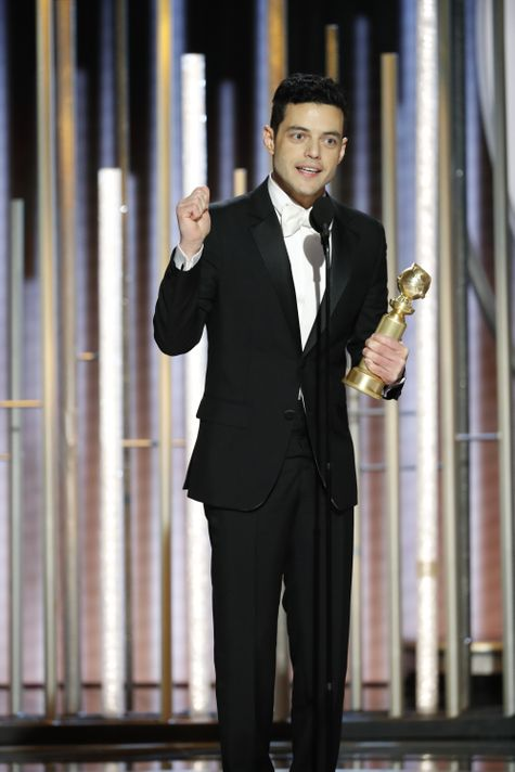 "Rami Malek won best actor for his role as Freddie Mercury, right before ""Bohemian Rhapsody"" took best drama at the Golden Globes.  (Photo: Paul Drinkwater/NBC via USA TODAY)"