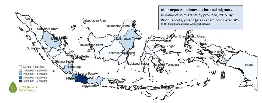 Figure 2: Indonesia's internal migrants - number by province by Khor Reports  Source: Khor Reports     Data: BPS  (c) 2018 Segi Enam Advisors Pte Ltd. All rights reserved.