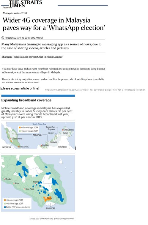 Khor Reports map data analytics - Featured in The Straits Times, Singapore. Source: Khor Yu Leng, Khor Reports - Segi Enam Advisors   Data: Celcom and DiGi for 4G coverage and author's estimates for Felda-FGV zones.