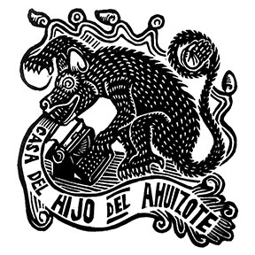 Linocut logo I designed for Casa del Hijo de el Ahuizote in Mexico City.