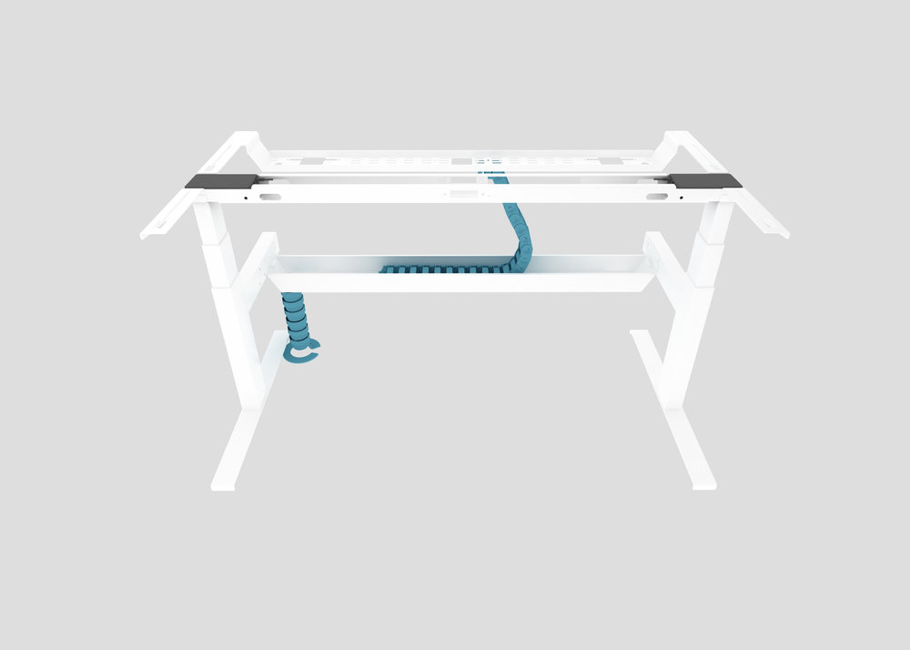 Cable Riser from Floor to Lower Tray with Side-to-Side Cable Chain to Upper Tray