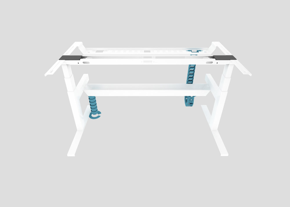 Cable Riser from Floor to Lower Tray with Front-to-Back Cable Chain to Upper Tray
