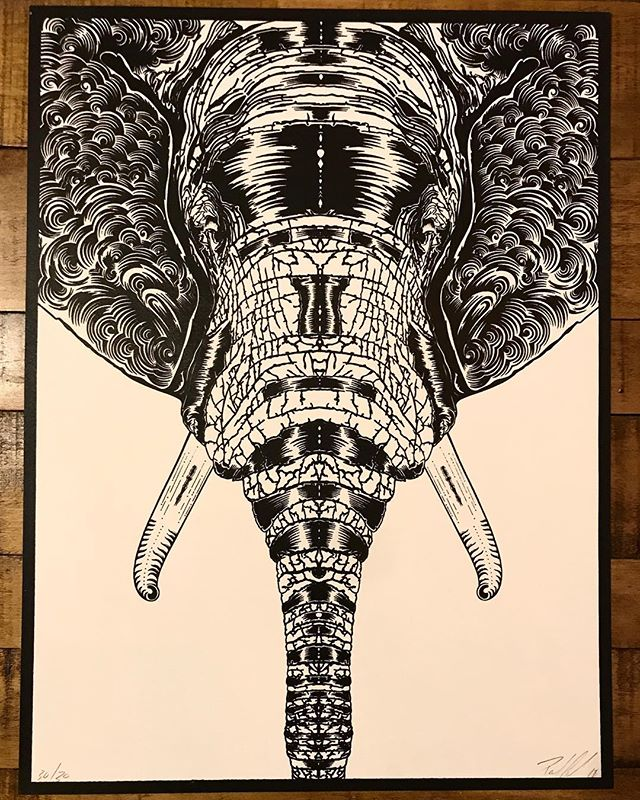 Single color silk screened elephant print. Love these amazing animals. Such special creatures. These ARE FOR SALE and 25% of all sales go to the AWF @africanwildlifefoundation.  Thank you for the support 🙌 me and these amazing creatures thank you ❤️