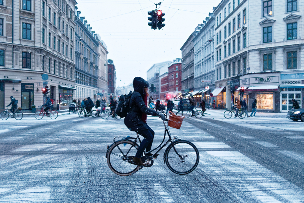 Copenhagen is famous for its cycling culture and pristine bike lanes - and Copenhageners bike in all weather conditions.