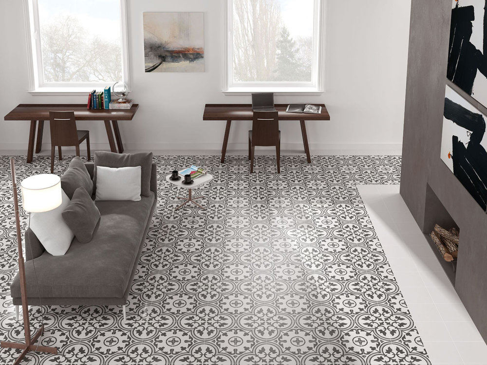 Glazed Geometric Patterned Porcelain Tiles