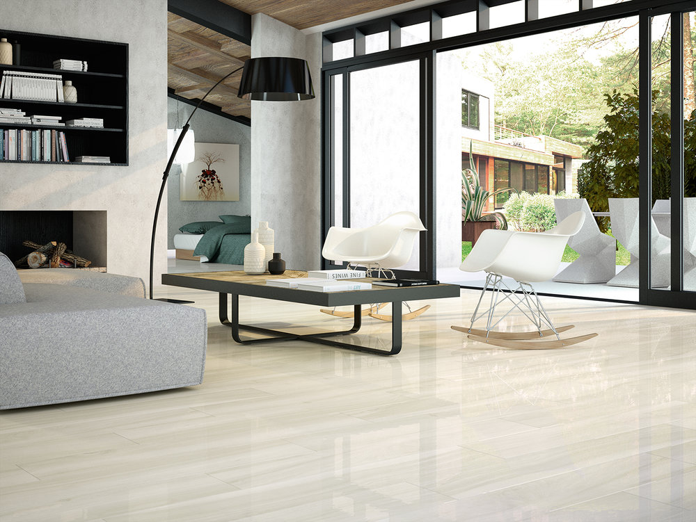 Polished White Wood Effect Porcelain Tiles