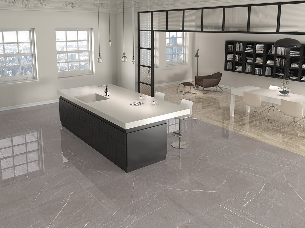 Polished Grey Porcelain Tile