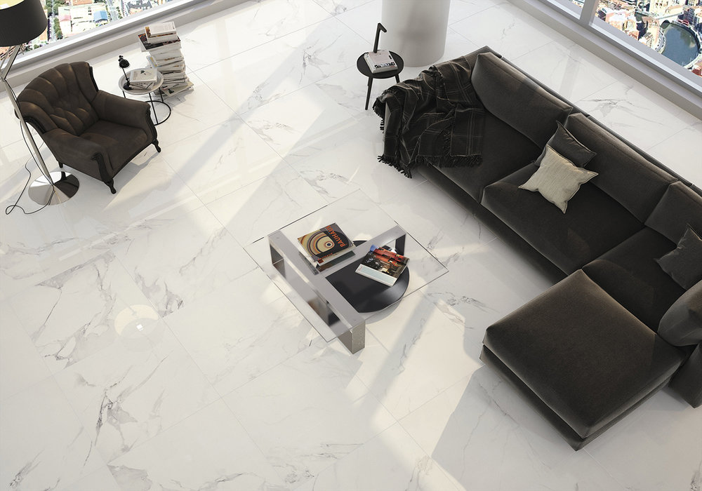 Magnum White Polished Porcelain Tile