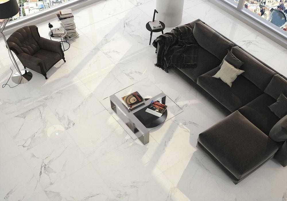 Magnum White Polished Porcelain Tile