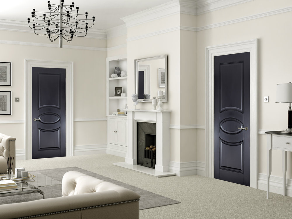 Versailles Black Primed Interior Door