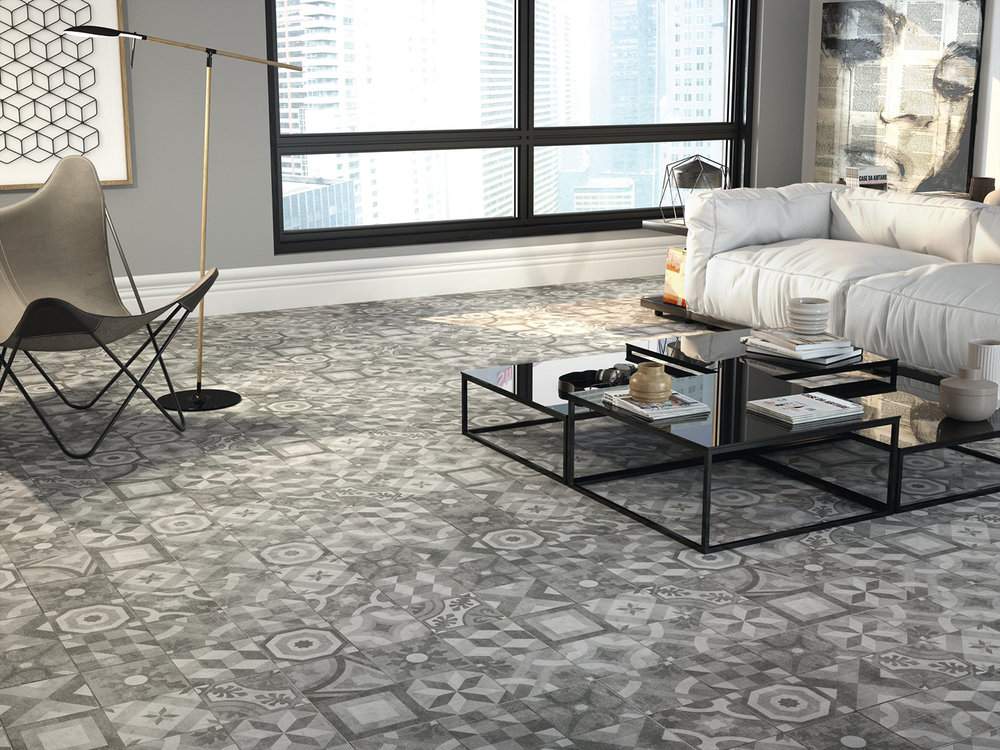Matt Porcelain Patterned Tiles