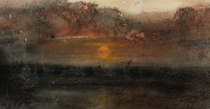 J.M.W. Turner  Sunset and Dark Clouds over the Sea , c1845 ( From The Whalers Sketchbook) – Tate Britain, London