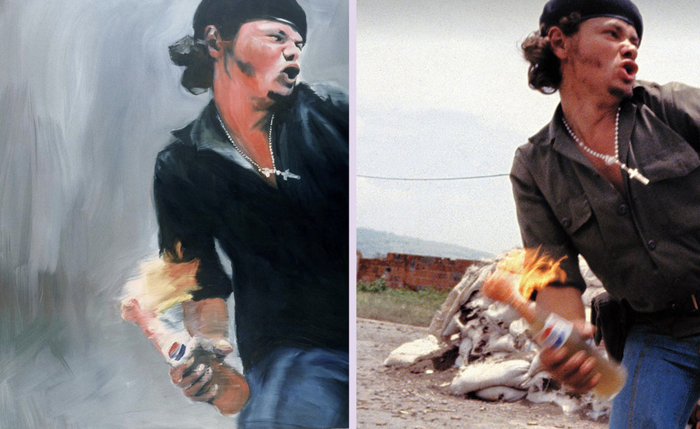 "Left: Joy Garnett ""Molotov, 2003"", oil on canvas, 70×60 inches. Right: A 5x4 detail from Susan Meiselas's 3 x 2 35mm photograph of a Sandanista fighter in Nicaragua, 16th July, 1979"