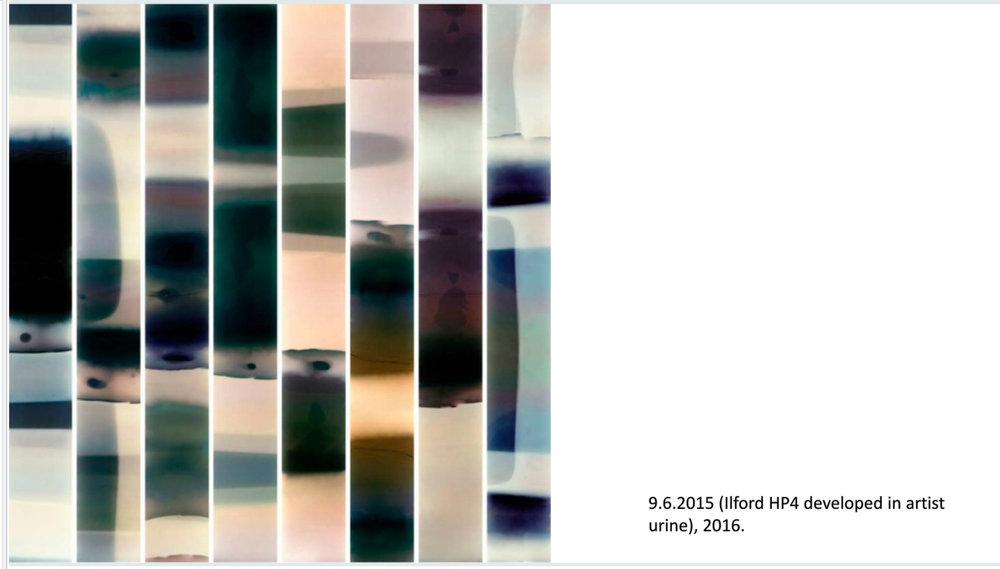 Photographic film developed in the artists urine; Laura Nissenen 2016