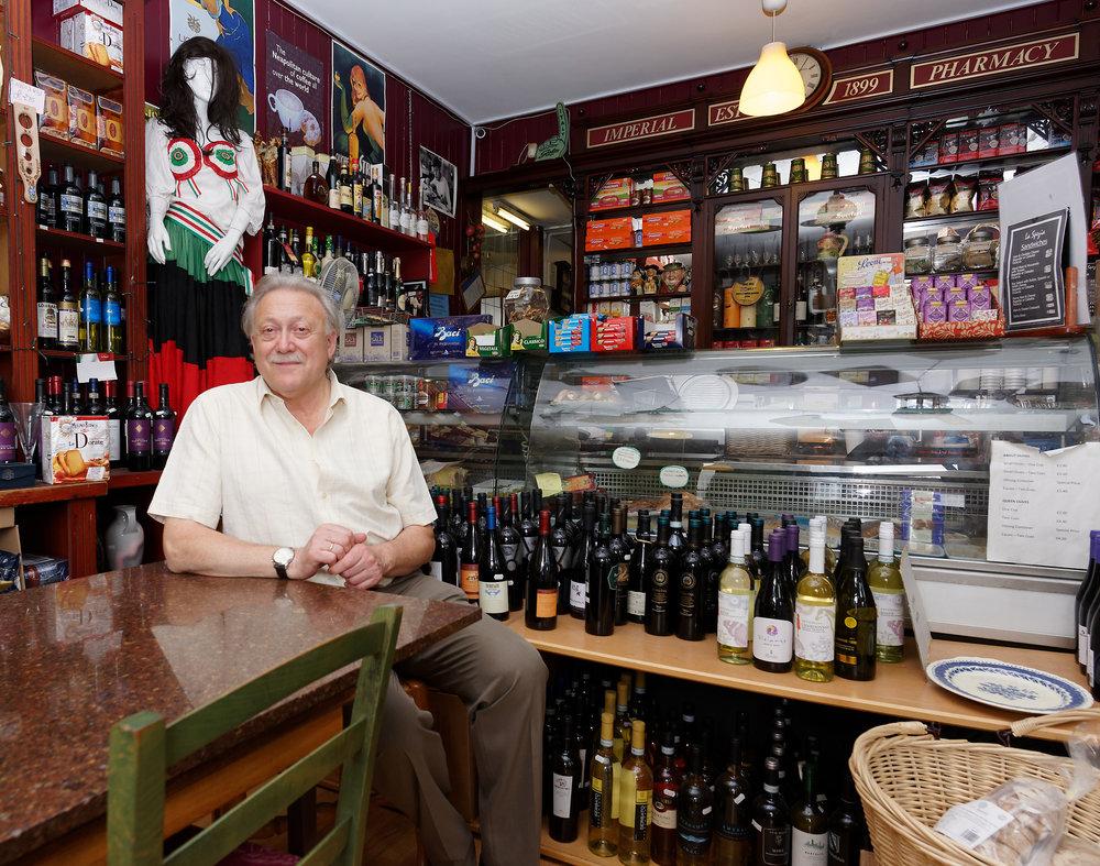 Georgio Rafaelli at an unusually quiet table in the cafe area of La Spezia