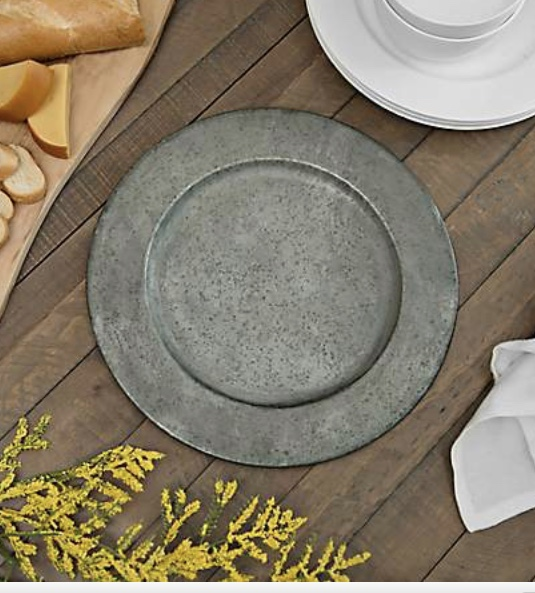 Galvanized Metal Charger Plates Shades Of Teal