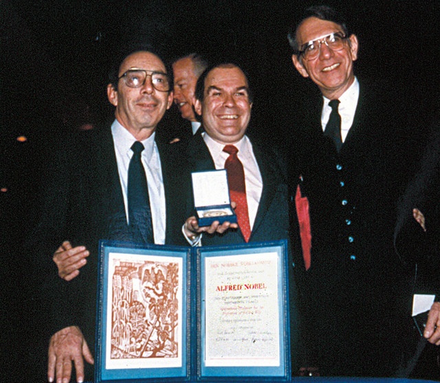 Doctors Jack Greiger, Victor Sidel, and Sidney Alexander at the 1985 Nobel Peace Prize ceremony  (PSR)