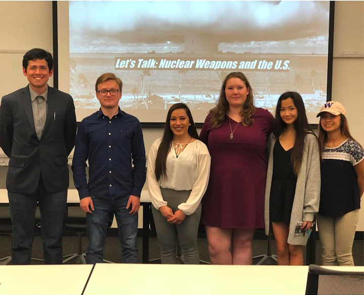 "Members of  Beyond the Bomb - UW Chapter , with student panelists from their ""Let's Talk: Nuclear Weapons and the U.S."" panel in May 2018"