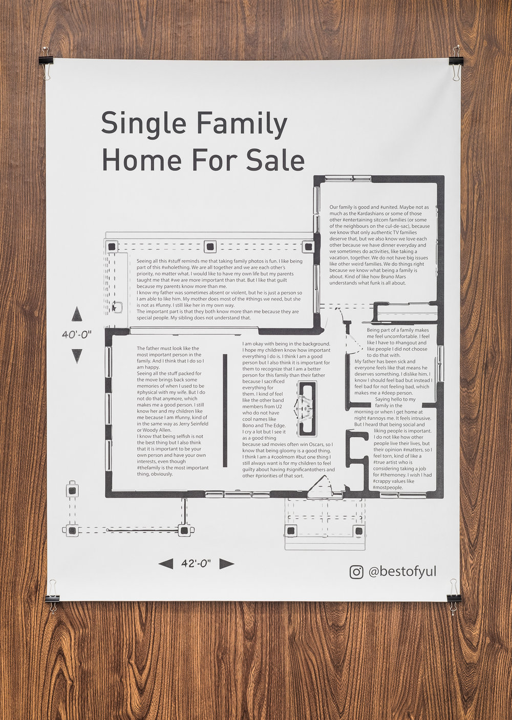 Dimitri Velasquez. Single Family Home For Sale, 2018. Print on bond paper (available in PDF) [Photo by Morgane Clément-Gagnon]