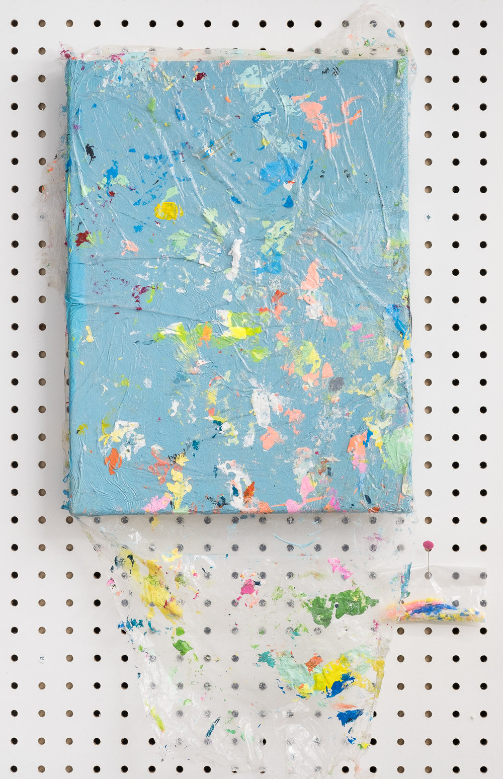Jeanie Riddle. Protective Covering, 2018. 17 x 11 in. Acrylic on canvas, plastic. [Photo by Morgane Clément-Gagnon]